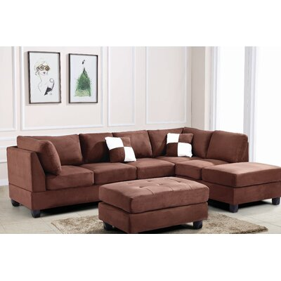 Amberwood Reversible Chaise Sectional Upholstery: Suede Chocolate