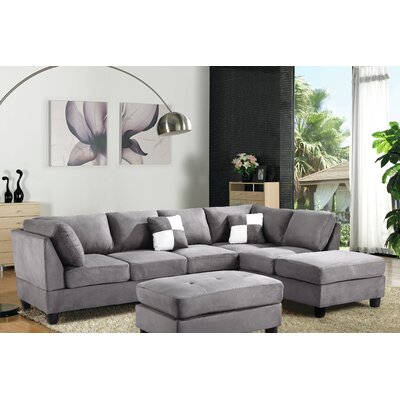 Amberwood Reversible Chaise Sectional Upholstery: Suede Gray