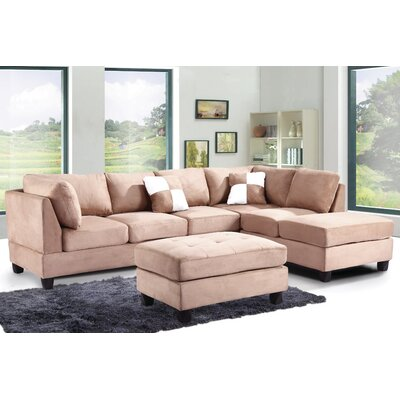 Amberwood Reversible Chaise Sectional Upholstery: Suede Saddle