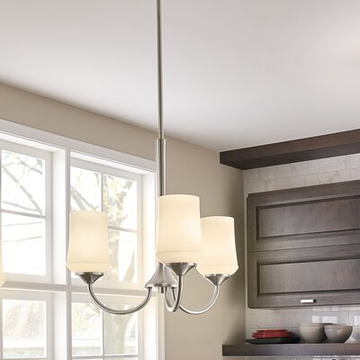 Bergstrom 3-Light Shaded Chandelier Finish: Brushed Nickel