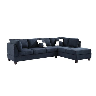 Childress Sectional Upholstery: Suede Navy Blue