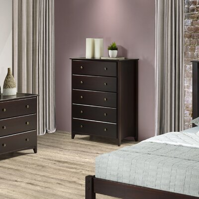 White Bluffs 5 Drawer Chest Color: Cappuccino