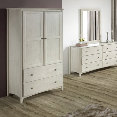 Avila 2 Door and 2 Drawer Armoire Finish: Weathered White