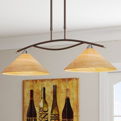 Beecroft 2-Light Glass Shade Kitchen Island Pendant Finish: Aged Bronze