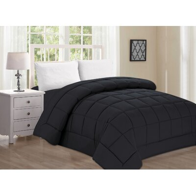 Polyester All Season Down Alternative Comforter Color: Black, Size: King