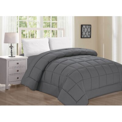 Polyester All Season Down Alternative Comforter Color: Gray, Size: Twin