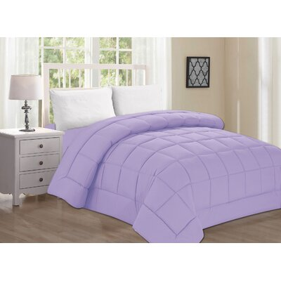 Polyester All Season Down Alternative Comforter Color: Lilac, Size: Twin