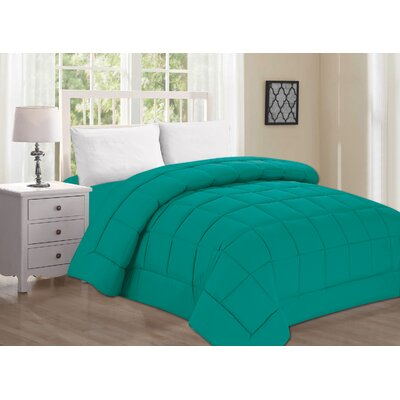 Polyester All Season Down Alternative Comforter Color: Turqouise, Size: Queen