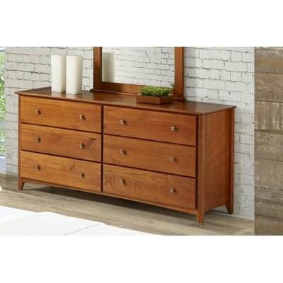 Axelrod 6 Drawer Double Dresser Color: Cherry