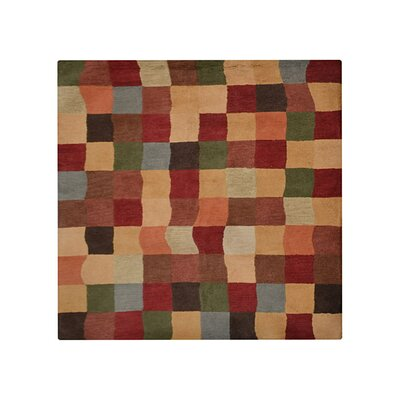 Boneta Geometric Hand-Tufted Wool Orange/Brown Area Rug Rug Size: Round 6'