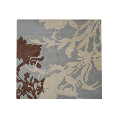 Lockerbie Floral Hand-Tufted Wool Blue/Brown Area Rug Rug Size: Round 6