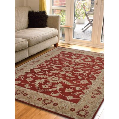 Morley Hand-Woven Wool Red/Gold Area Rug Rug Size: Square 6