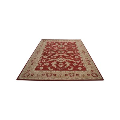 Crawford Hand-Tufted Wool Red/Gold Area Rug Rug Size: Round 6