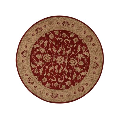 Morley Hand-Tufted Wool Red/Gold Area Rug Rug Size: Round 6