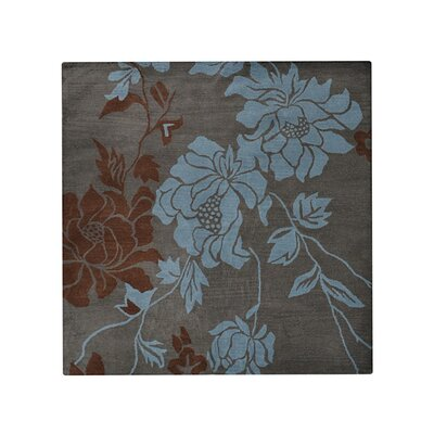 Purti Floral Hand-Woven Beige/Brown Area Rug Rug Size: Square 6
