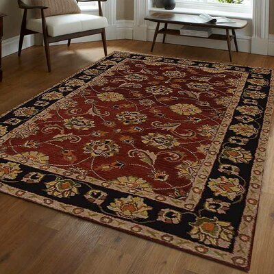 Bluffridge Vintage Hand-Tufted Red/Brown Area Rug Rug Size: 5 x 8