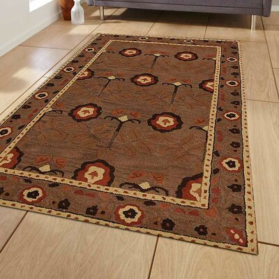 Linndale Vintage Hand-Tufted Wool Brown Area Rug Rug Size: 5' x 8'