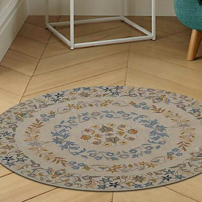 Lockington Floral Hand-Tufted Wool Cream Area Rug Rug Size: Round 6