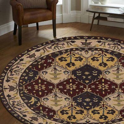 Logan Vintage Hand-Tufted Wool Red/Beige Area Rug Rug Size: Round 6