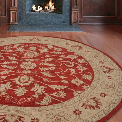 Morley Hand-Woven Wool Red/Gold Area Rug Rug Size: Round 8