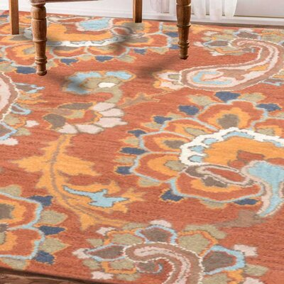 Crestshire Hand-Tufted Wool Rust Area Rug Rug Size: 9 x 12