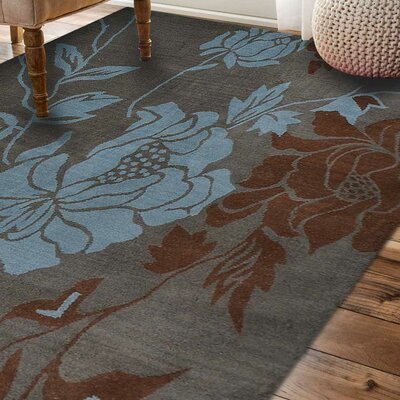 Crestwood Hand-Tufted Wool Gray/Blue Area Rug Rug Size: Round 8