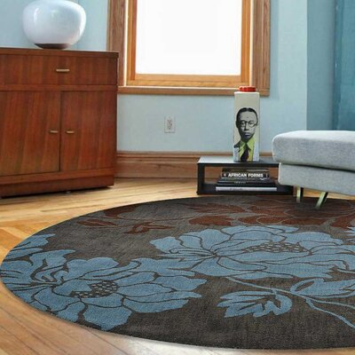 Crestwood Hand-Tufted Wool Gray/Blue Area Rug Rug Size: Round 6