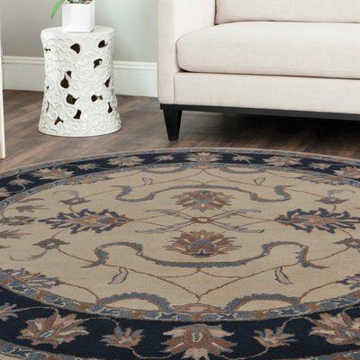 Cullen Hand-Tufted Wool White/Blue Area Rug Rug Size: Round 6