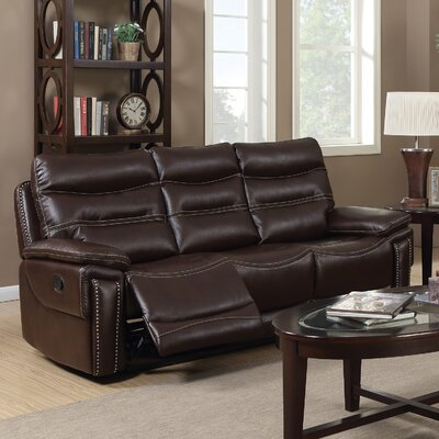 Adcox Leather Reclining Sofa Upholstery: Faux Leather Brown