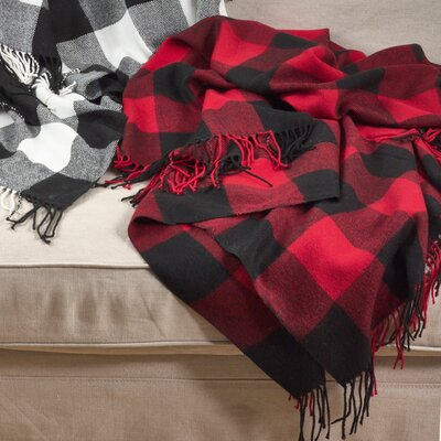 Farmersville Plaid Check Design Tassel Trim Throw Color: Red