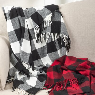 Farmersville Plaid Check Design Tassel Trim Throw Color: Black