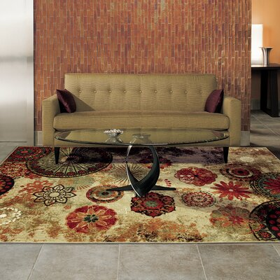 Bergen Caravan Medallion Beige/Orange Area Rug Rug Size: Rectangle 6 x 9