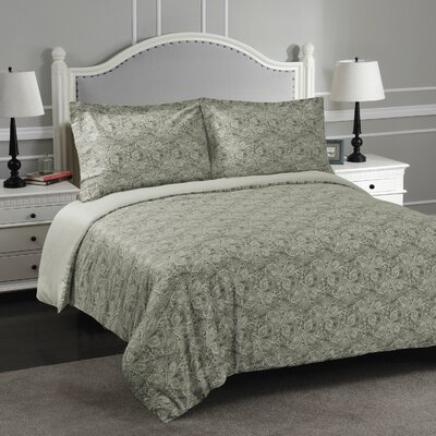 Burkes Reversible Duvet Cover Set Size: King/California King, Color: Gray