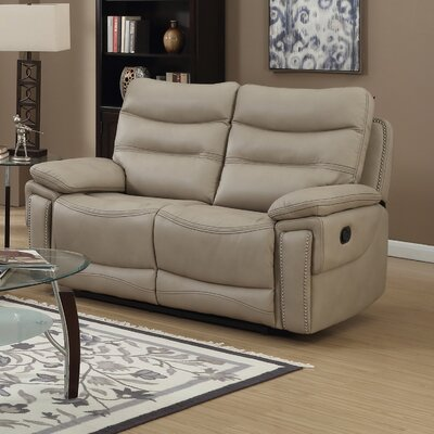 Adair Leather Reclining Loveseat Upholstery: Faux Leather Beige