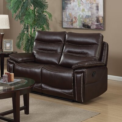 Adair Leather Reclining Loveseat Upholstery: Faux Leather Brown