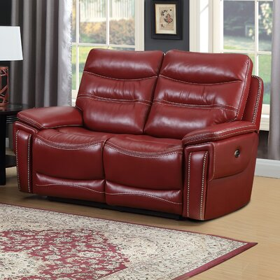 Adair Leather Reclining Loveseat Upholstery: Faux Leather Red