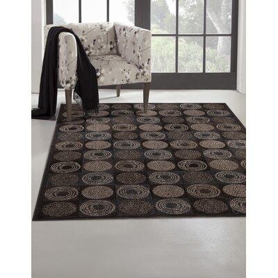 Glencoe Charcoal/Ivory/Chocolate Area Rug Rug Size: 53 x 76