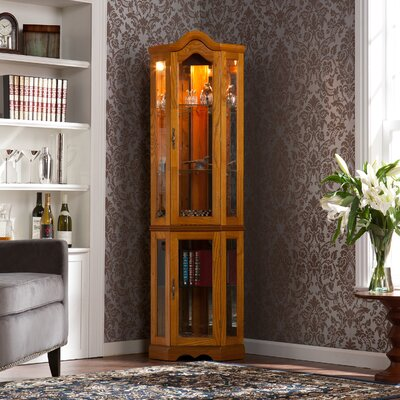 Glacier Lighted Corner Curio Cabinet Color: Golden Oak