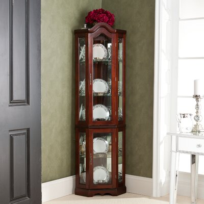 Glacier Lighted Corner Curio Cabinet Color: Mahogany