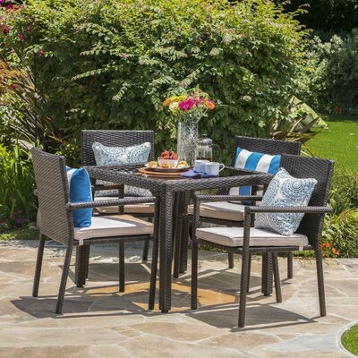 Stewartstown Wicker 5 Piece Dining Set with Cushions Finish: Brown