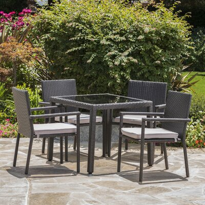Stewartstown Wicker 5 Piece Dining Set with Cushions Finish: Gray