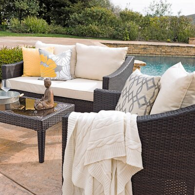 Aqueduct 4 Piece Conversation Set with Cushions Finish: Multi-Brown
