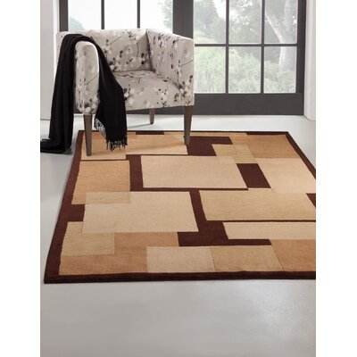 Mystic Hand-Knotted Brown Area Rug Rug Size: 5 x 8
