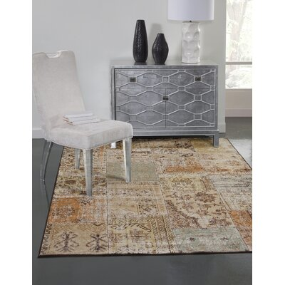 Glencoe Beige/Brown/Green/Light Blue Area Rug Rug Size: 53 x 76