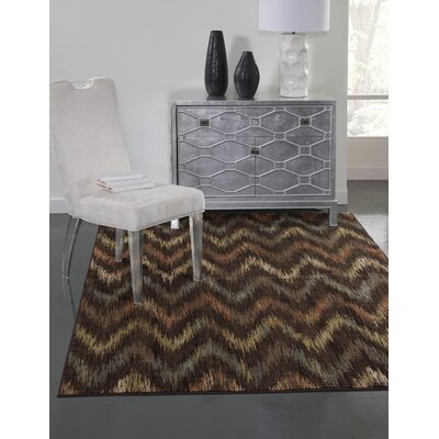 Glencoe Chocolate/Rust/Tan/Aqua Area Rug Rug Size: 710 x 112