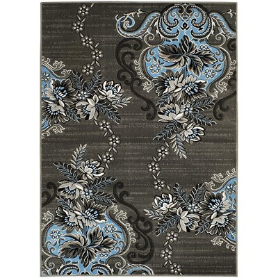 Jerimiah Hand-Carved Gray/Blue Area Rug Rug Size: 5 x 7