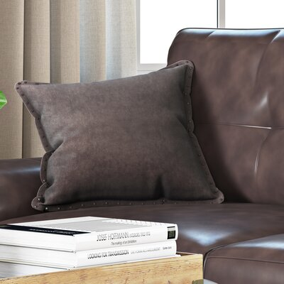 Dixmoor Stud Trim Throw Pillow Color: Brown