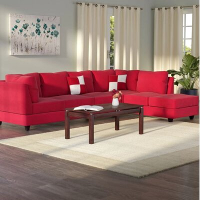Amberwood Reversible Chaise Sectional Upholstery: Suede Red