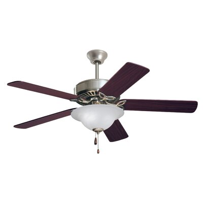 50 Millbank Pro Series ES 5 Blade Ceiling Fan Finish: Brushed Steel with Cherry/Mahogany Blades, Glass Type: Alabaster Swirl Glass