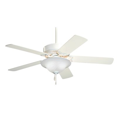50 Millbank Pro Series ES 5 Blade Ceiling Fan Finish: Appliance White with White/Bleached Oak Blades, Glass Type: Alabaster Swirl Glass